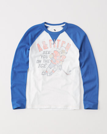 kids varsity raglan graphic tee