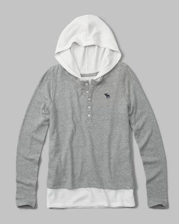 kids layered henley hoodie
