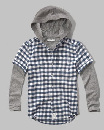 kids plaid flannel layered hoodie