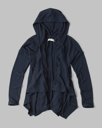kids ribbed hooded non-closure cardigan