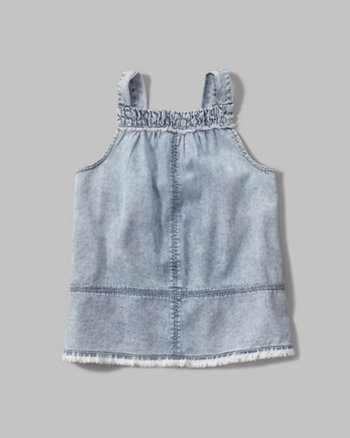 kids chambray fringe tank