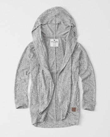 kids cozy fleece hooded cardigan