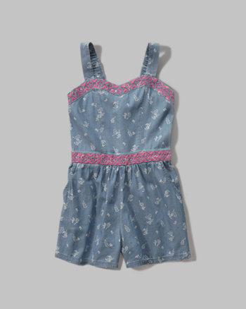 kids cinched waist chambray romper
