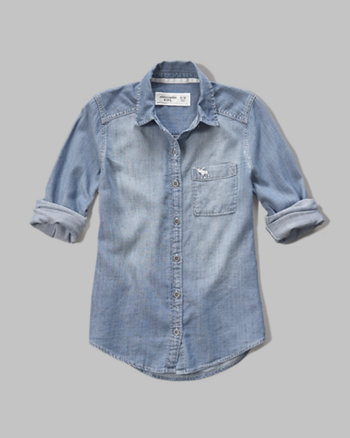 kids washed denim shirt