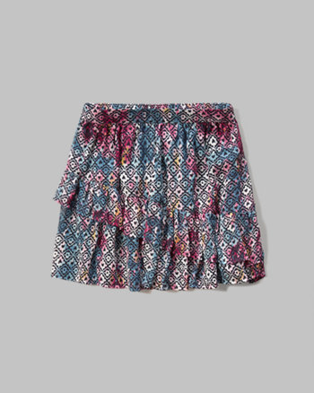 kids Patterned Ruffle Tier Skirt