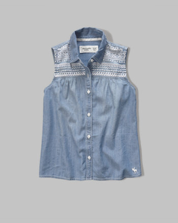 kids embroidered chambray shirt