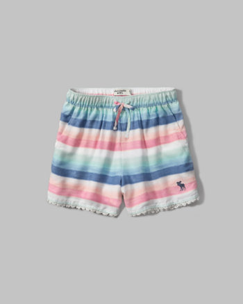 kids lace trim soft shorts