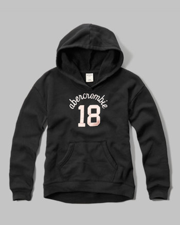 kids shine applique logo graphic hoodie