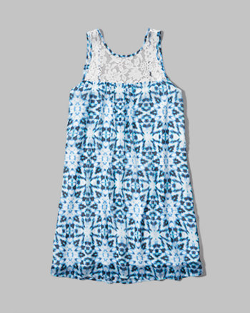 kids pattern lace trim trapeze dress
