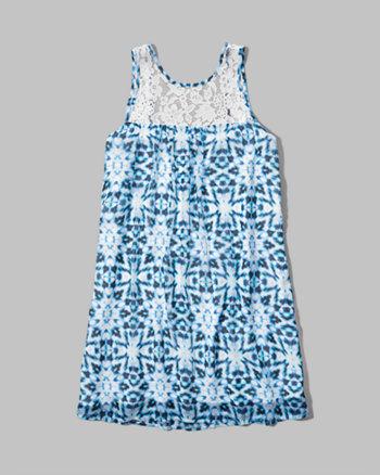 kids pattern lace trim trapeze dress