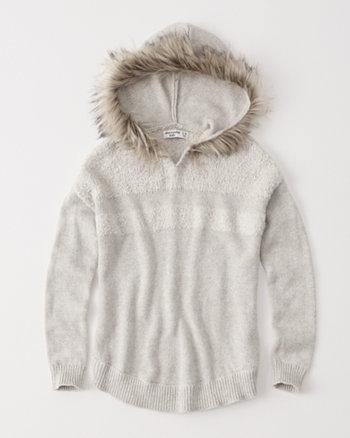 kids faux fur hoodie sweater