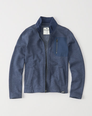 kids herringbone mock full-zip jacket