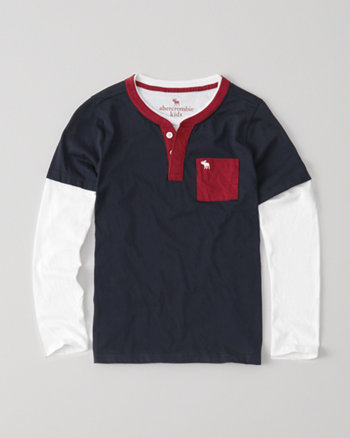 kids long-sleeve twofer henley