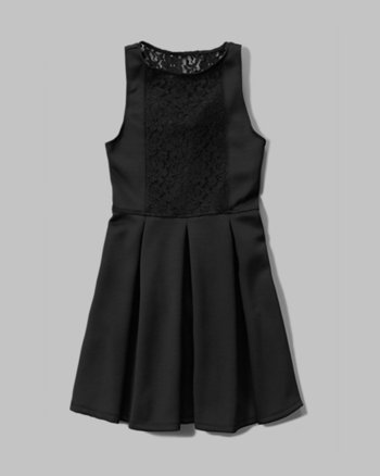 kids lace panel skater dress
