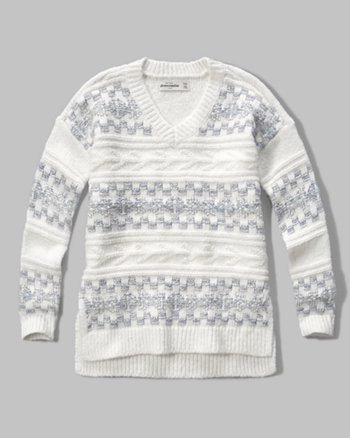 kids patterned v-neck sweater