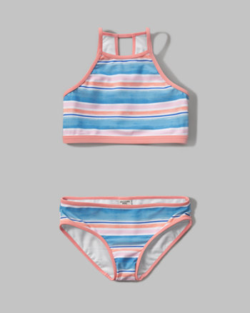 kids high neck two-piece swimsuit