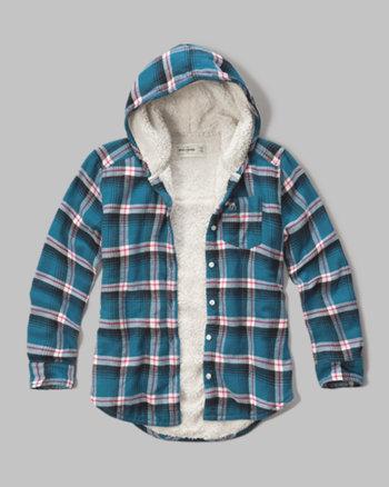 kids sherpa lined hooded plaid shirt