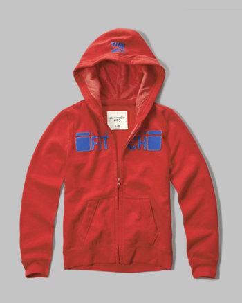 kids logo graphic full zip hoodie
