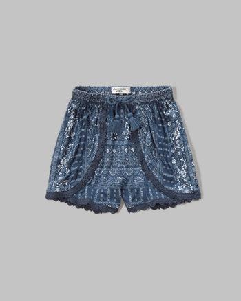 kids lace trim tulip shorts