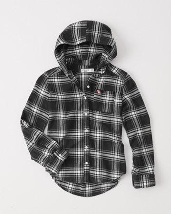 kids hooded flannel shirt