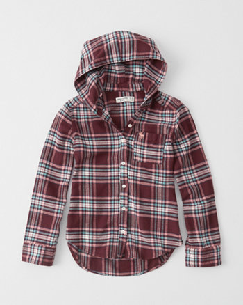 kids hooded flannel shirt