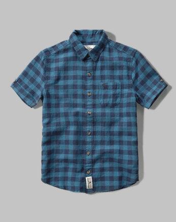 kids short sleeve linen pocket shirt