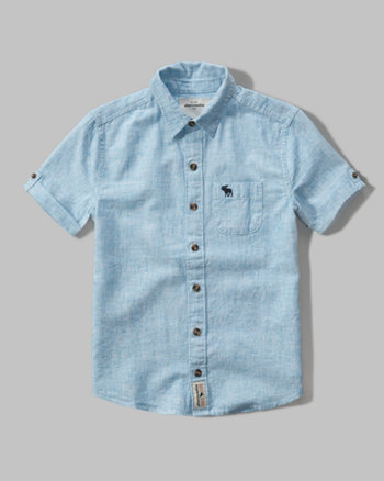 kids short sleeve linen pocket shirt