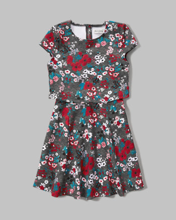 kids floral overlay dress