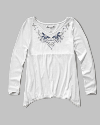 kids embroidered shine knit top