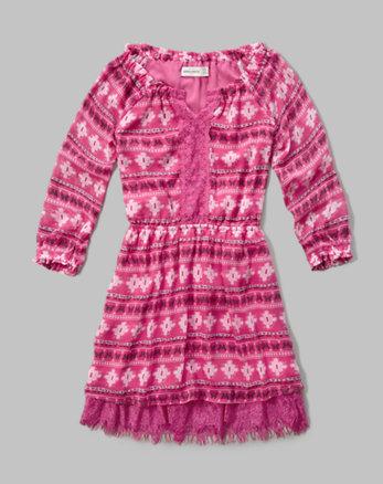kids patterned lace hem peasant dress