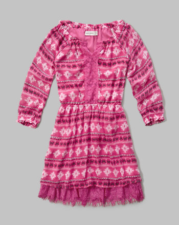 kids patterned lace hem peasant dress