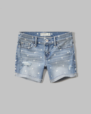kids a&f midi denim shorts