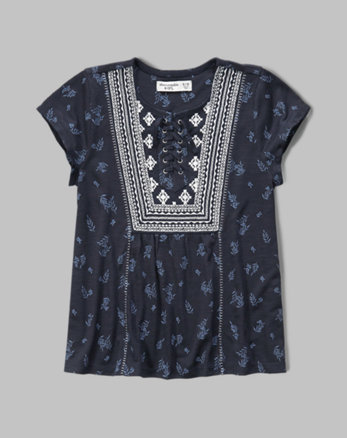 kids embroidered lace-up tee