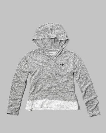kids lace-hem easy hoodie