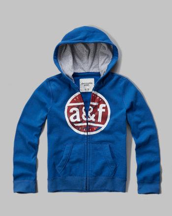 kids contrast hood logo full zip hoodie