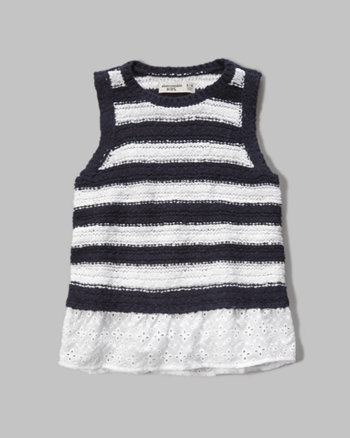 kids eyelet hem sweater tank