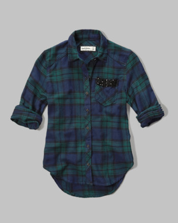 kids plaid sequin-pocket shirt