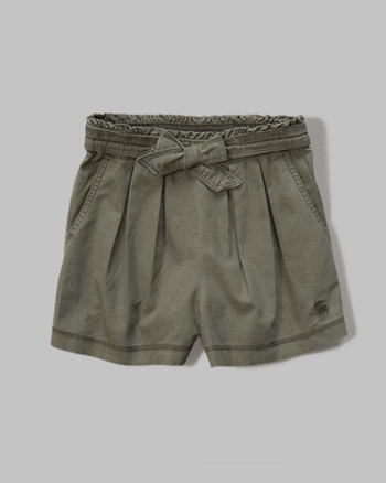 kids pleated twill shorts