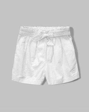 kids pleated twill shorts