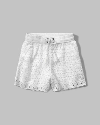 kids eyelet soft shorts