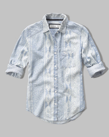 kids patterned denim shirt