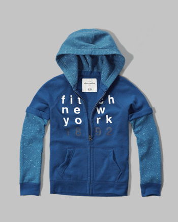 kids contrast layered hoodie