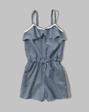 kids chambray ruffle romper