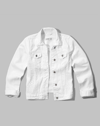 kids lace panel denim jacket