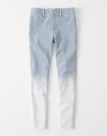 kids railroad stripe pull-on jean ankle leggings