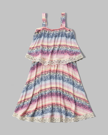 kids patterned tier dress
