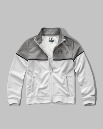 kids a&f sport colorblock mock neck full zip jacket
