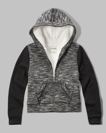 kids sherpa lined colorblock hoodie
