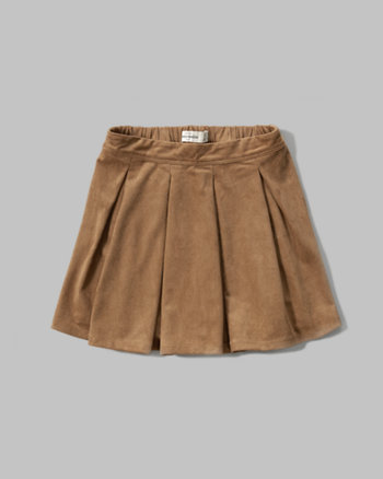 kids faux suede pleated skirt