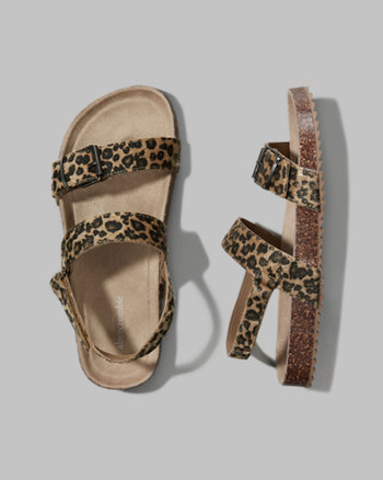 kids leopard strap molded sandals